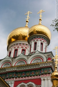 Golden domes of the Church of Shipka in Bulgaria