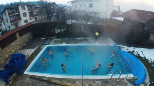 Thermal water pool in winter in Bansko